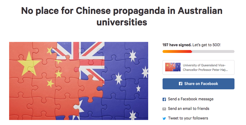 No place for Chinese propaganda in Australian universities