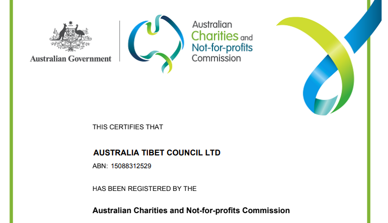 The Australian Government has recognised Australia Tibet Council as a registered charity